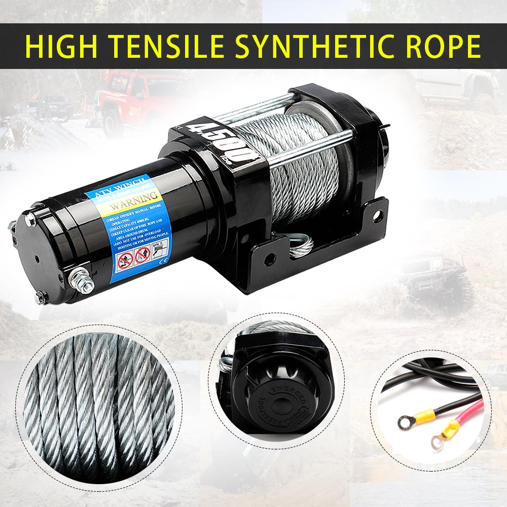 4500lbs Electric Winch With 10M X 5.3mm High-strength Synthetic Rope
