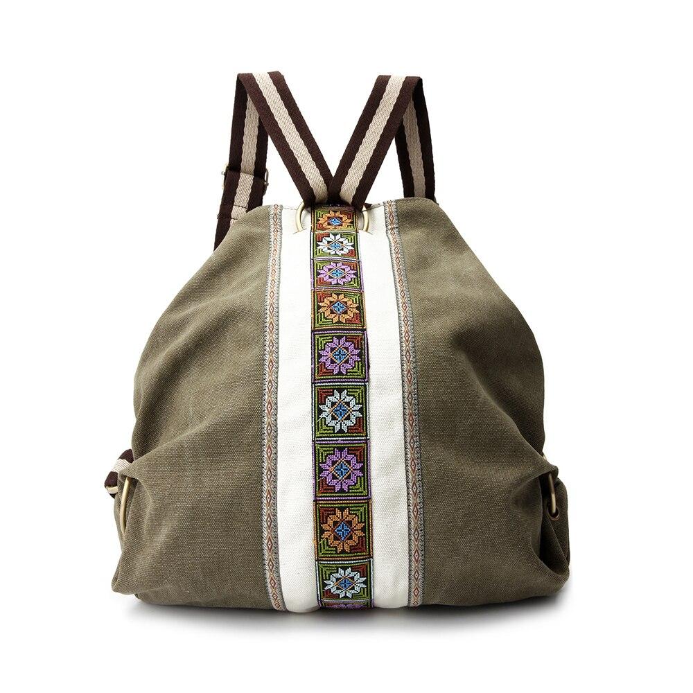 Винтажный холщовый рюкзак с вышивкой в стиле бохо, кошелек, экологически чистая сумка-ведро, школьная сумка для женщин