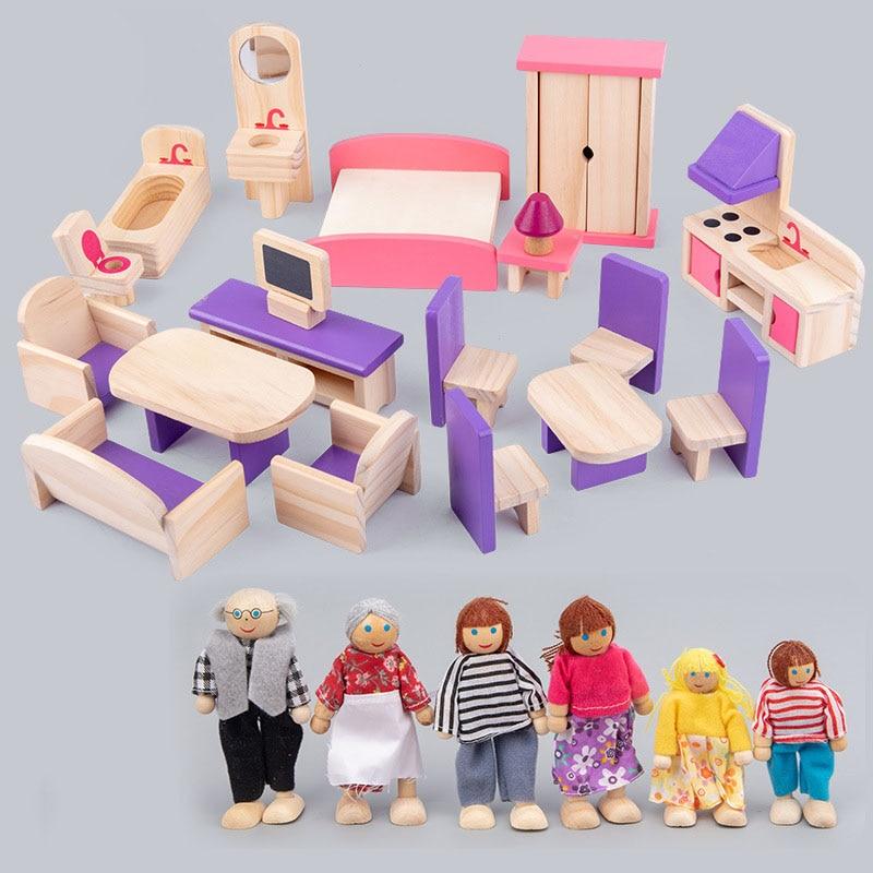 لعبة بيت الدمية الخشبية للأطفال ، أثاث مصغر ، مجموعة أثاث بيت الدمى ، ألعاب تعليمية للتظاهر ، هدايا للأطفال