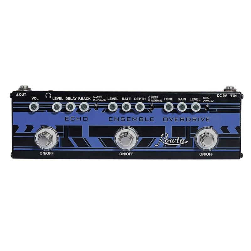 Rowin DAP-2 Gitarre Multi Effekte Pedal 3In1 Echo + Ensemble + Overdrive True Bypass Funktion