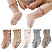 Kwiatowy haft grzyb krawędzi skarpetki skarpetki dla noworodków dzianina bawełniana dzieci skarpety do kolan dla małe dziewczynki dzieci podkolanówki