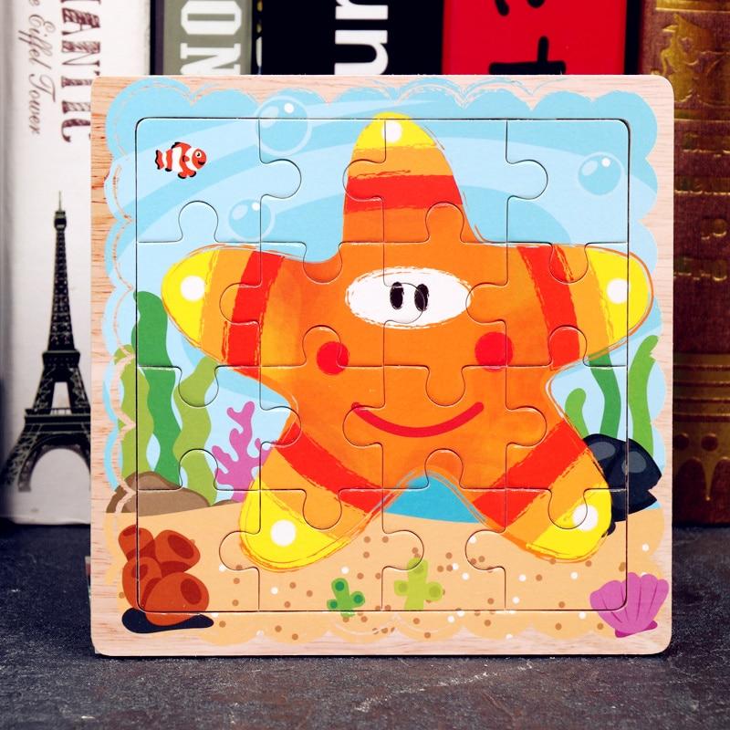 Juguetes de madera de 15*15 CM, rompecabezas Simple para niños, rompecabezas de 16 piezas, juguetes educativos para bebés, rompecabezas para niños pequeños