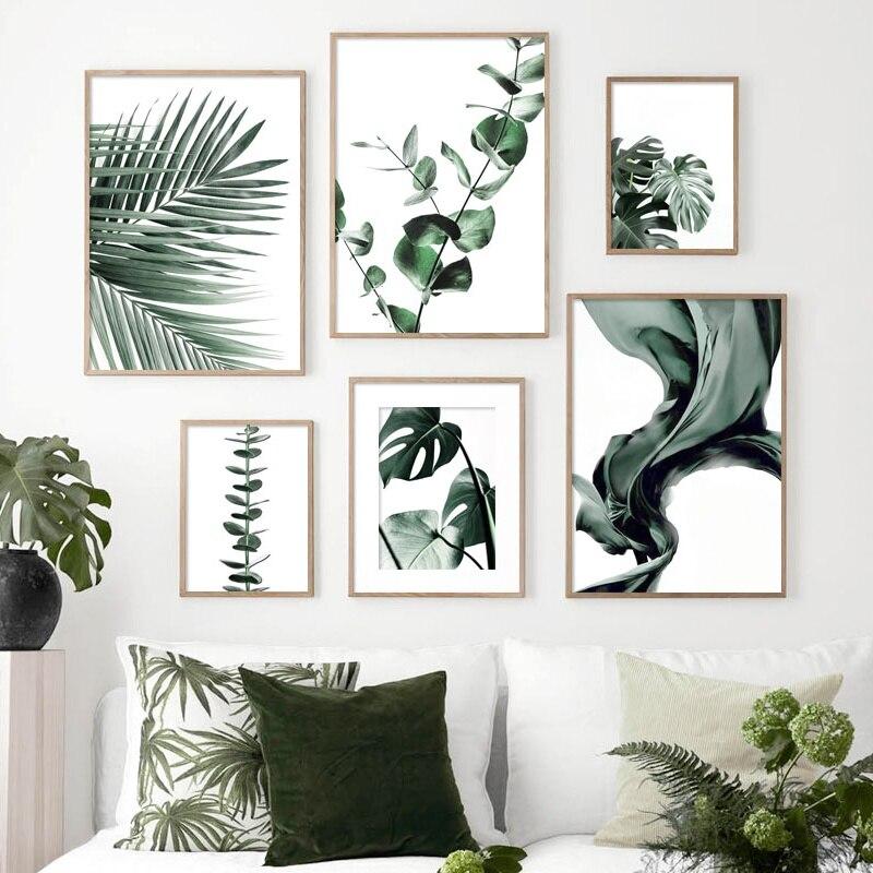 Cartel nórdico con hoja verde grande de eucalipto Monstera, cuadro sobre lienzo para pared, carteles e impresiones, imágenes de pared para decoración para sala de estar