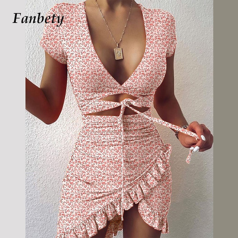 Mini robe portefeuille style cryptographique, motif Floral, à nouer, froncée, manches courtes, vacances, été, 2021