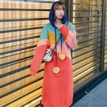 XUXI 2020 Spring New Fashion Hooded Collar Fur Ball Bandage Dress Korea Hit Color Patchwork Elegant Dress Women Clothes  FZ0511