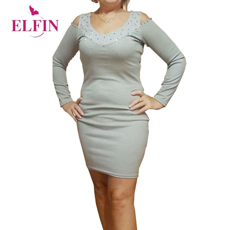 Cut Shoulder Bodycon Women Dress Long Sleeve Mini Hot Drilling Party Dresses Slim Fit Korean Clothes 2019 SJ4406R