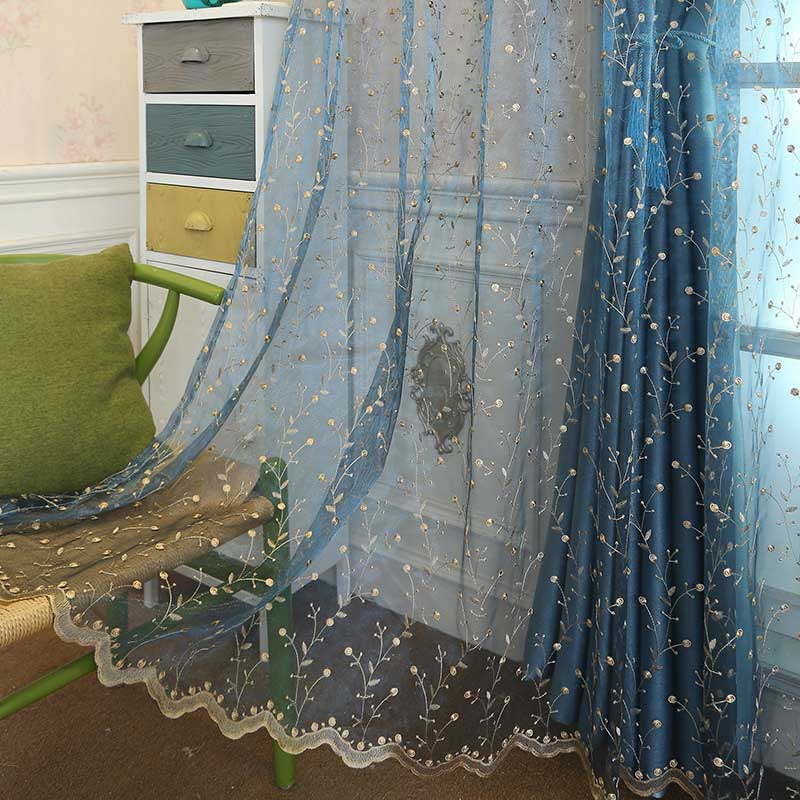 Embroidered Luxury Tulle Curtain For Living room Bedroom Floral Voile Sheer Curtain Window Screen Organza Curtains For Kitchen