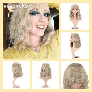 VCKOVCKO 12 inch Short Bob Synthetic Wig Pastel Wavy Wig With Air Bangs Women's Blonde Wig Shoulder Length for Girl Colorful Wig
