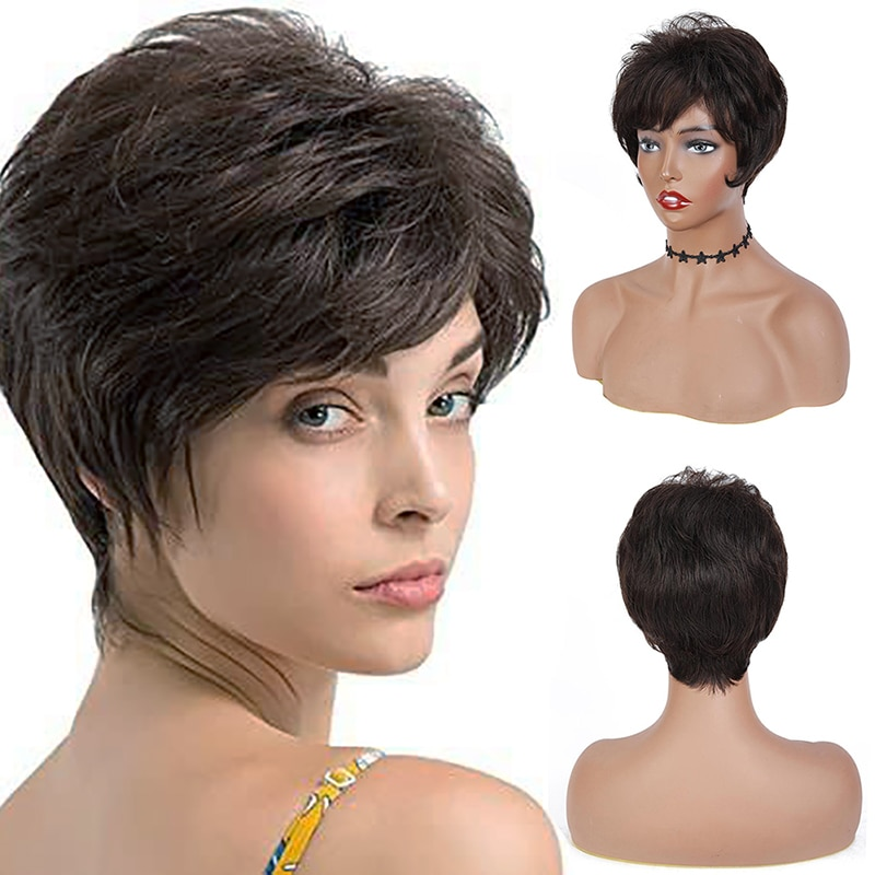 Human Hair Wig With Bangs Short Straight Wig Colored Natural Color Brazilian Hair Full Machine Wigs For Women Non-Remy IJOY