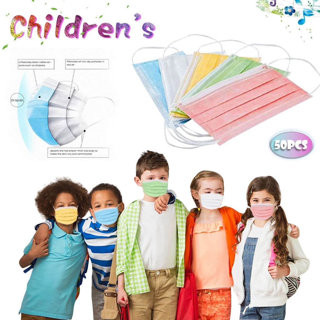 Boy And Girl Colorful 50pcs In Stock Adult Filters Adjustable Reusable Children's Disposable Masks M
