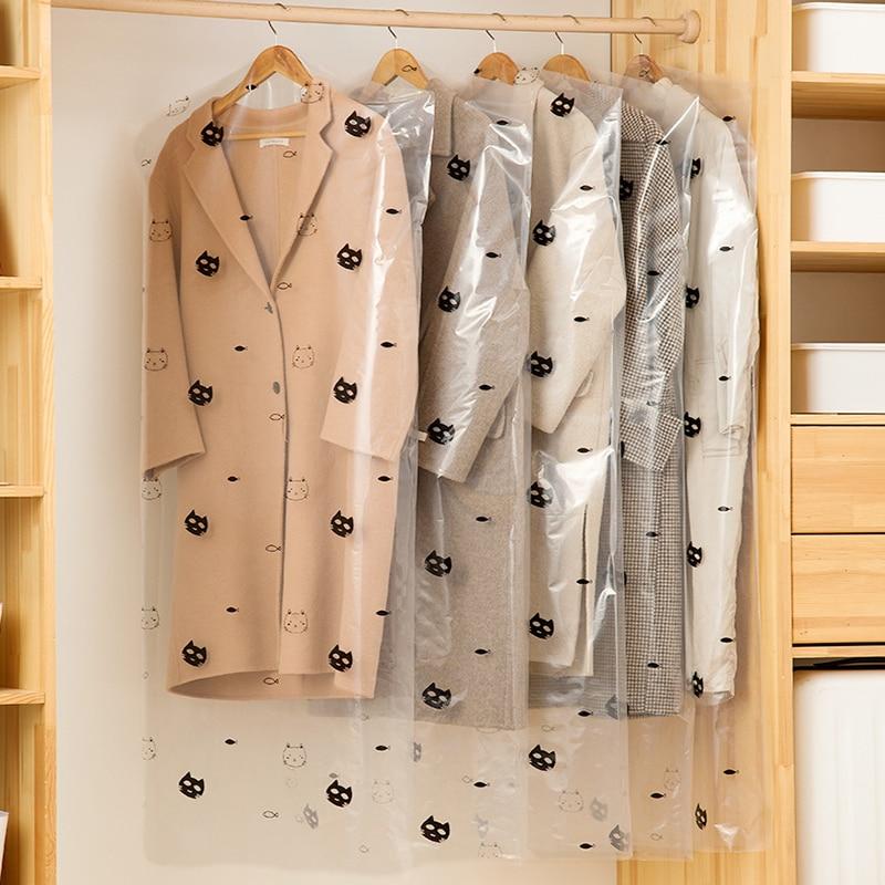 10pcs/Lot Plastic Transparent Clothes Dust Cover Hanging Pocket Storage Bag Wardrobe Garment Dry Cleaner Suit Coat Protector Bag enlarge