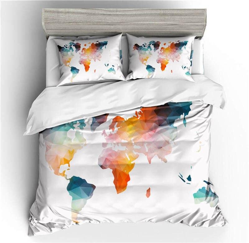 جديد 2021 ثلاثية الأبعاد خريطة العالم طقم سرير حية مطبوعة مع المخدة حك دافئ كول المنسوجات المنزلية الملكة حجم الأزرق غطاء لحاف السرير