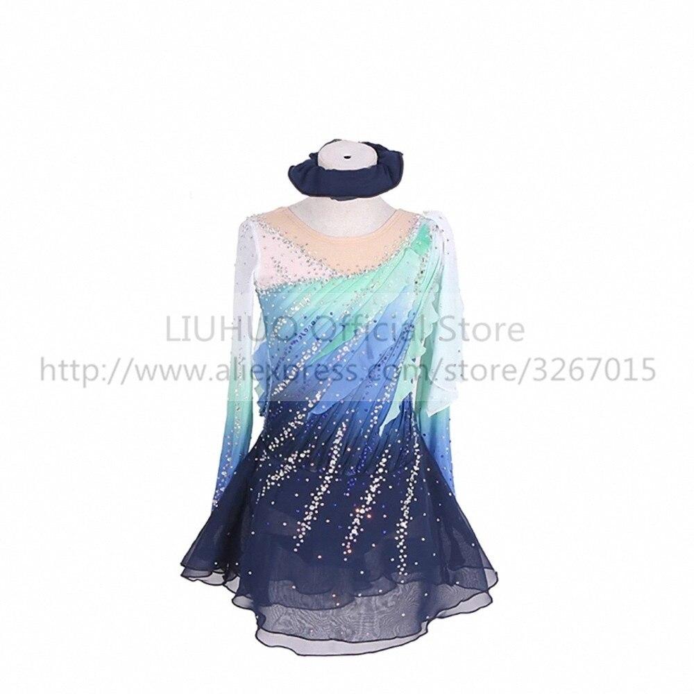 LIUHUO-فستان تزلج على الجليد للفتيات البالغات ، فستان رقص لمسابقات الجمباز الإيقاعي بأكمام طويلة