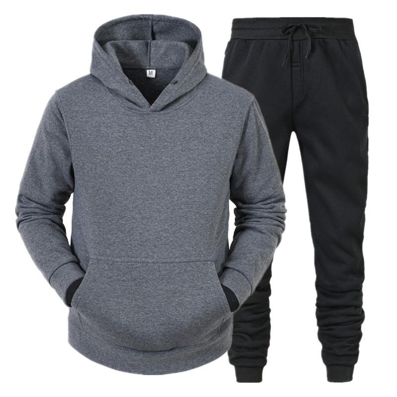 Костюм спортивный мужской из флиса, однотонный комплект с толстовкой и штанами, свитер и штаны, уличная одежда оверсайз с капюшоном