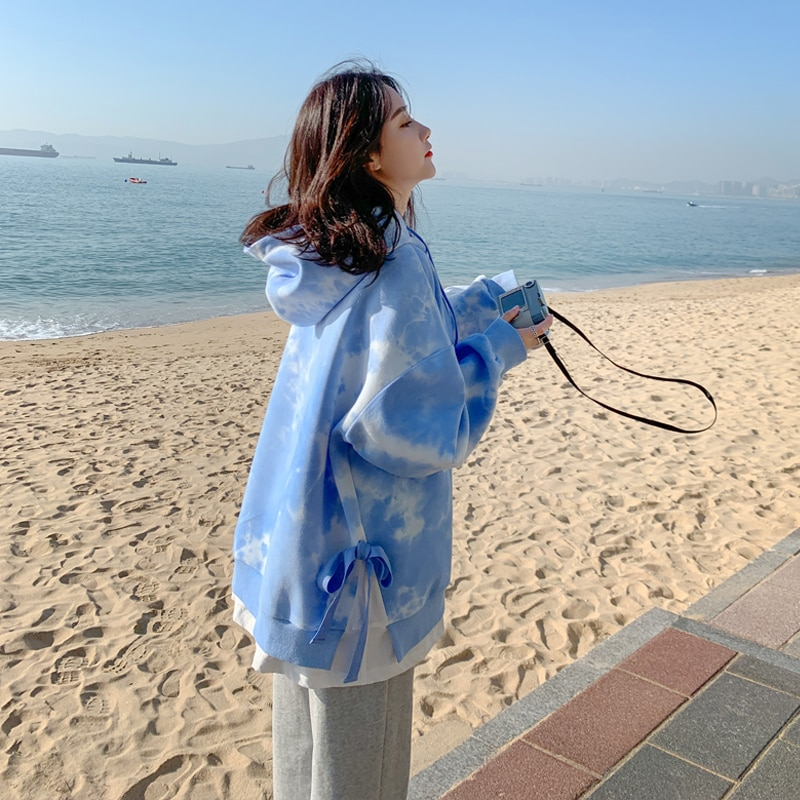 Printed Pullover Sweatshirt 2021 New Women's Fake Two-Piece Hooded Loose Internet Hot Fried Street D