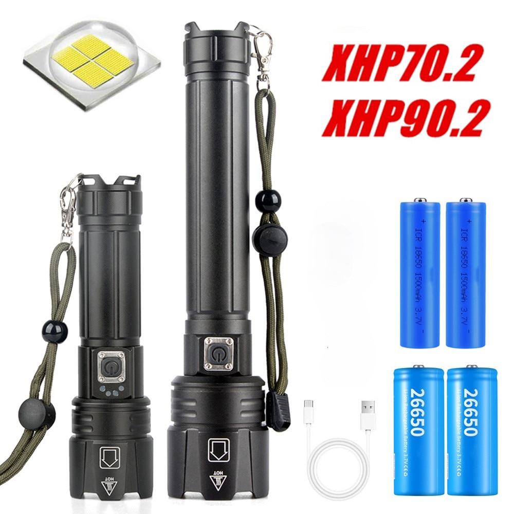 super lanterna poderosa de led xhp902 lanterna tatica recarregavel 26650 usb para flash cree