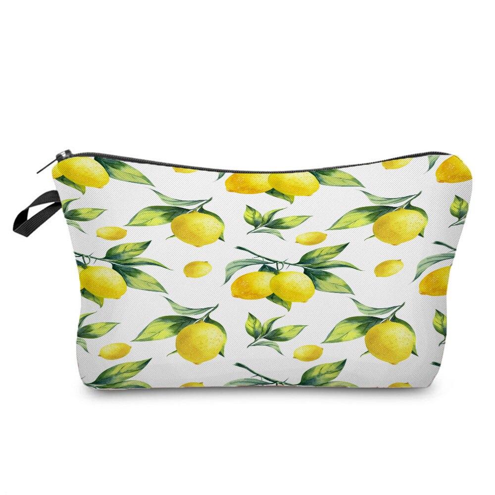 Casual Printed Lemon Cosmetics Organizer Bag Custom Made Women's Makeup Bag Daily Use Storage Bags f