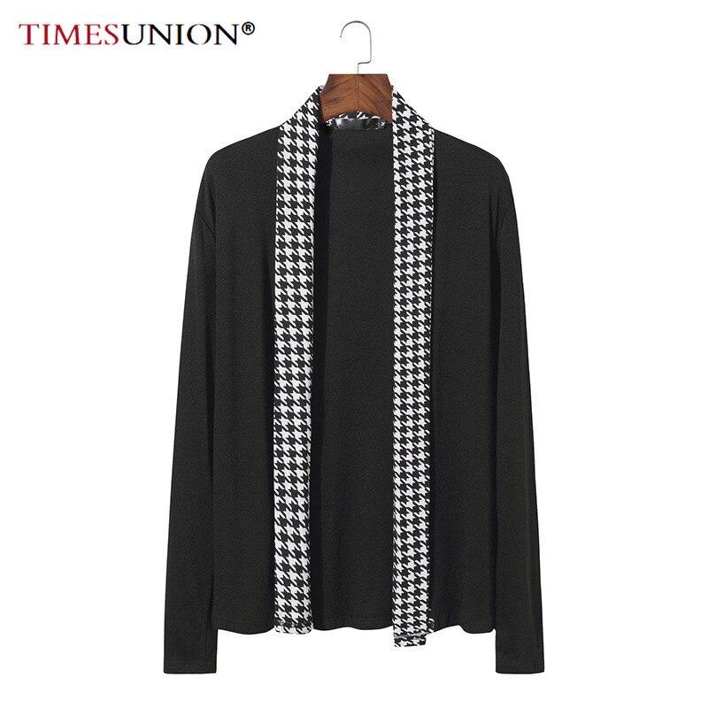 2020 novo outono inverno clássico houndstooth lapela malha cardigan camisolas masculinas de alta qualidade malha casacos masculino malhas