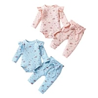 baby girls two piece autumn cotton clothes casual set floral printed pattern romper and elastic waist pants blue pink