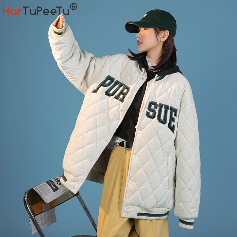 جاكيت مبطن شتوي بناتي مطرز بأحرف طويلة معطف كرة سلة نمط ياباني فضفاض ملابس الطلاب القتالية مع جيوب