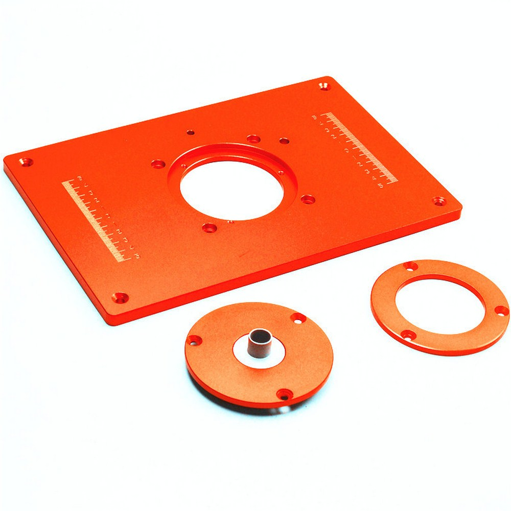Electric Wood Milling Trimming Machine Flip Plate Guide Table Aluminum Router Table Insert Plate with 4 Bushing for Work Bench