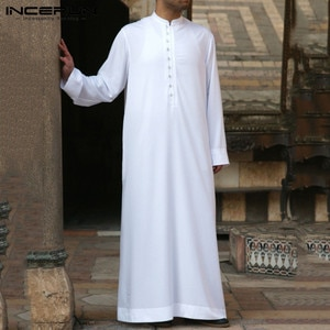 Muslim Men Jubba Thobe Long Sleeve Solid Color Breathable Robes 2021 Stand Collar Islamic Arabic Kaftan Men Abaya S-5XL INCERUN