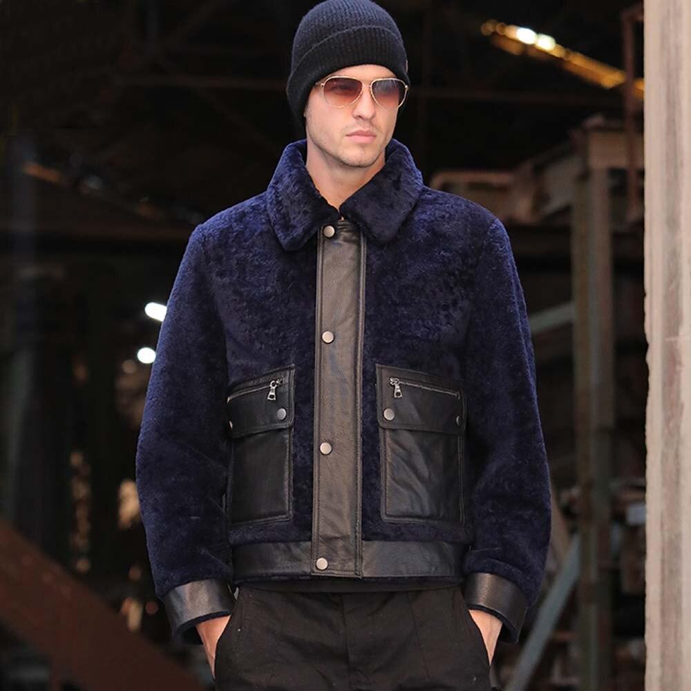 معطف قصير سميك من جلد الغنم الأصلي ، معطف فرو طبيعي ، مجموعة خريف وشتاء