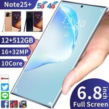 Smartphone Galxy Note25 + plein écran 6.8 pouces Version globale Deca Core 12G 512G Android10 5G Face ID débloqué 5000mAh en Stock