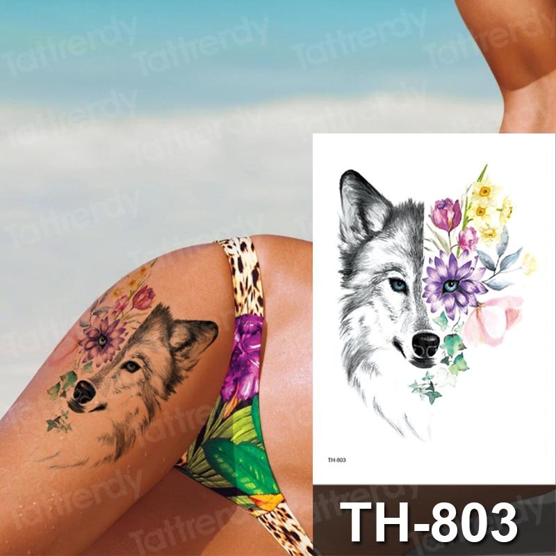 Tatuajes Temporales tribales de lobo para brazo para hombres y mujeres tatuaje falso para el pecho pegatina impermeable 3D Flash 3D Flash papel de tatuaje Fox