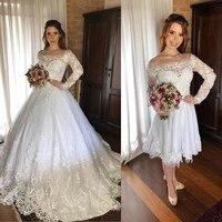 vestido de noiva 2 em 1 lace wedding dresses long sleeve 2020 sheer bateau neck appliques detachable train bride wedding gowns