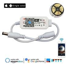 Contrôleur WiFi LED couleur simple bande lumières LED de contrôle Android iOS Google Assistant Alexa fonctionne pour 5050 3528 lumière LED