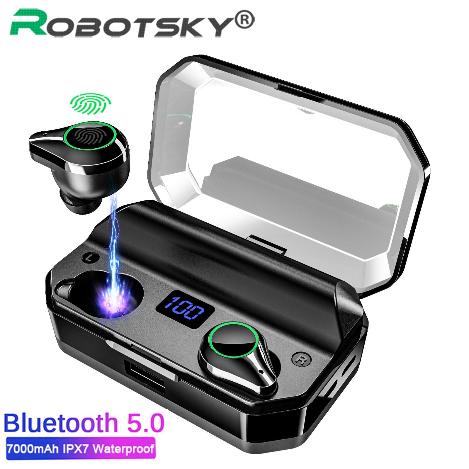 Auriculares inalámbricos Robotsky TWS Bluetooth V5.0 9D estéreo IPX7 resistente al agua 7000mAh banco de energía LED auriculares inalámbricos Auriculares auriculares