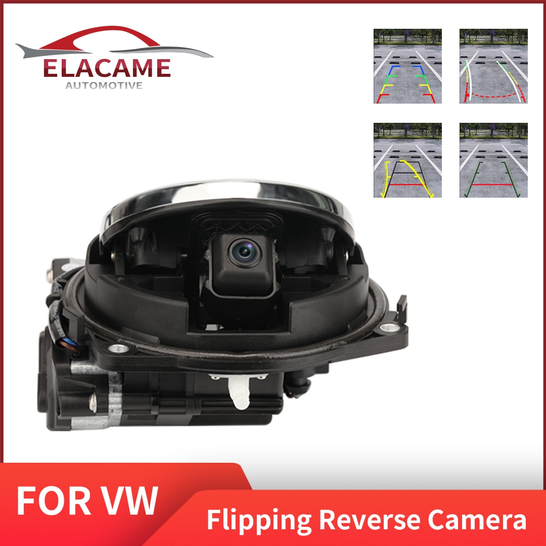 Review Vehical Logo Camera for VW OEM Waterproof Auto Flipping Emblem with Trunk Switch Rear View Camera for VW Passat B8 Golf GTI