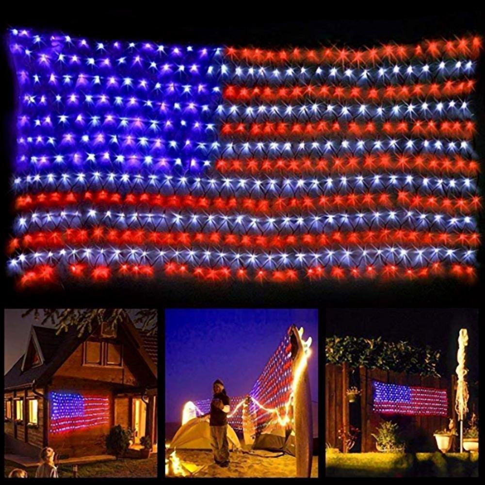 2m x 1m novedad bandera con Led neto de las luces de EE. UU. Para decoración de fiestas festivos jardín interior impermeable al aire libre 110V US Plug L1