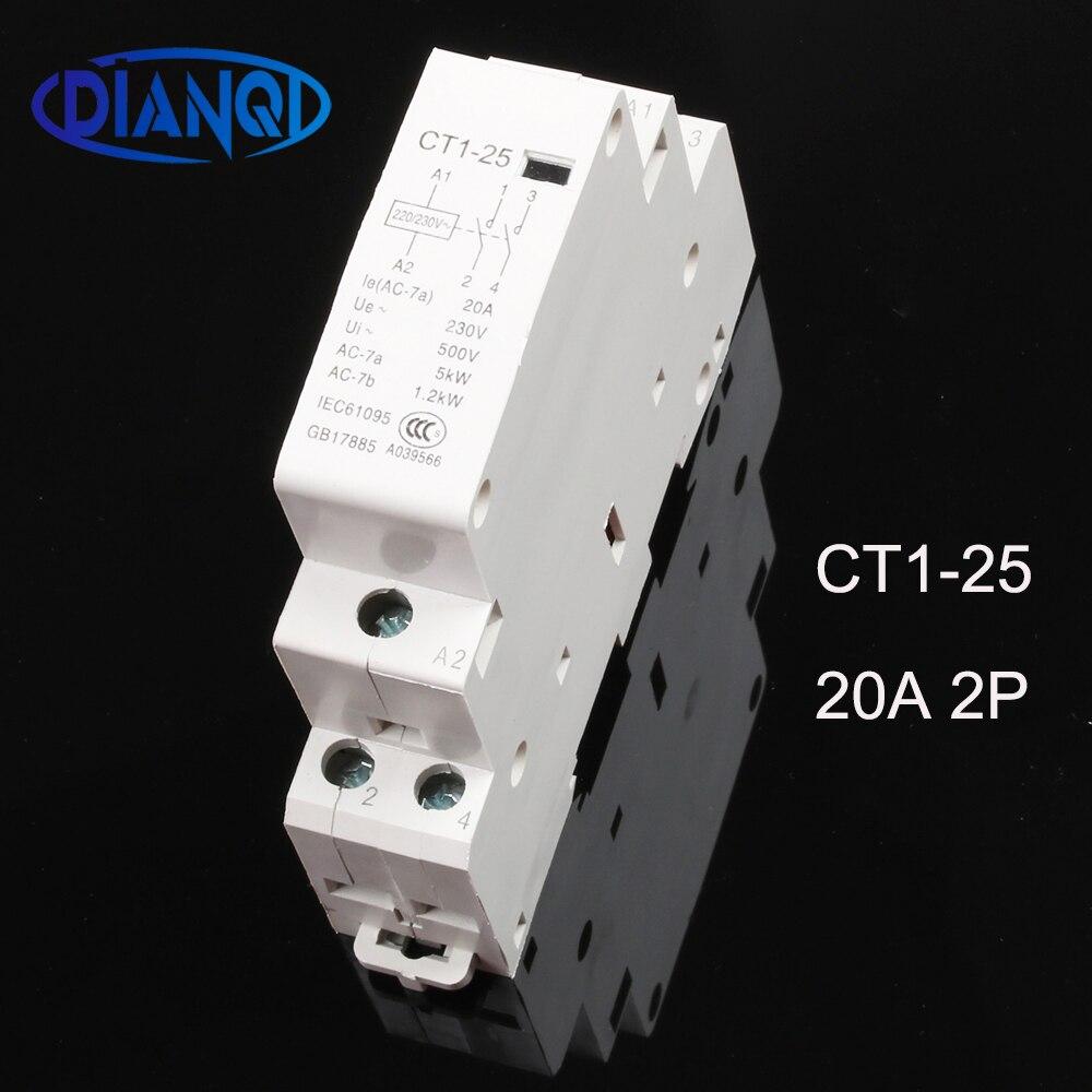 CT1-25 20A 2P 220V/230V, carril Din hogar ac contactor Modular 2NO 1NO1NC...