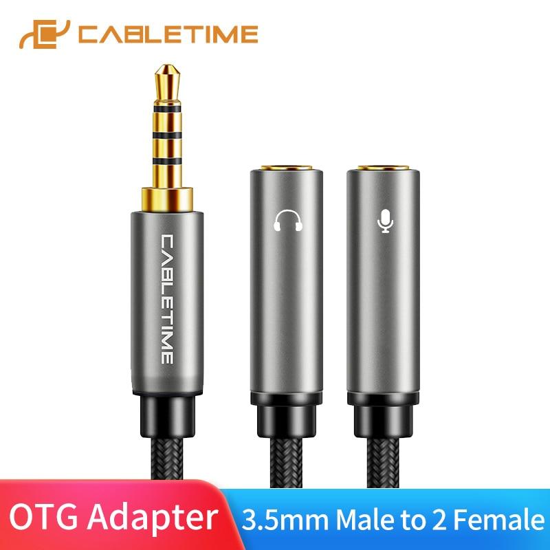 Cable divisor de auriculares Y Audio CABLETIME 3,5mm 4pple 3,5 Jack macho a 2 hembra Cable auxiliar para música Microphne C108