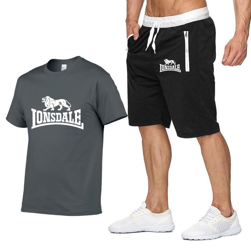 Мужской летний комплект спортивной одежды LONSDALE, футболка с коротким рукавом, короткие брюки, новые модные мужские повседневные комплекты, ш...