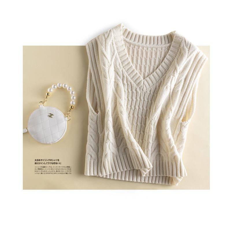 SHUCHAN Thick Sweater Vest Women 2021 Winter Autumn Warm 100% Wool England Style  Sleeveless  V-Neck Tank Top enlarge