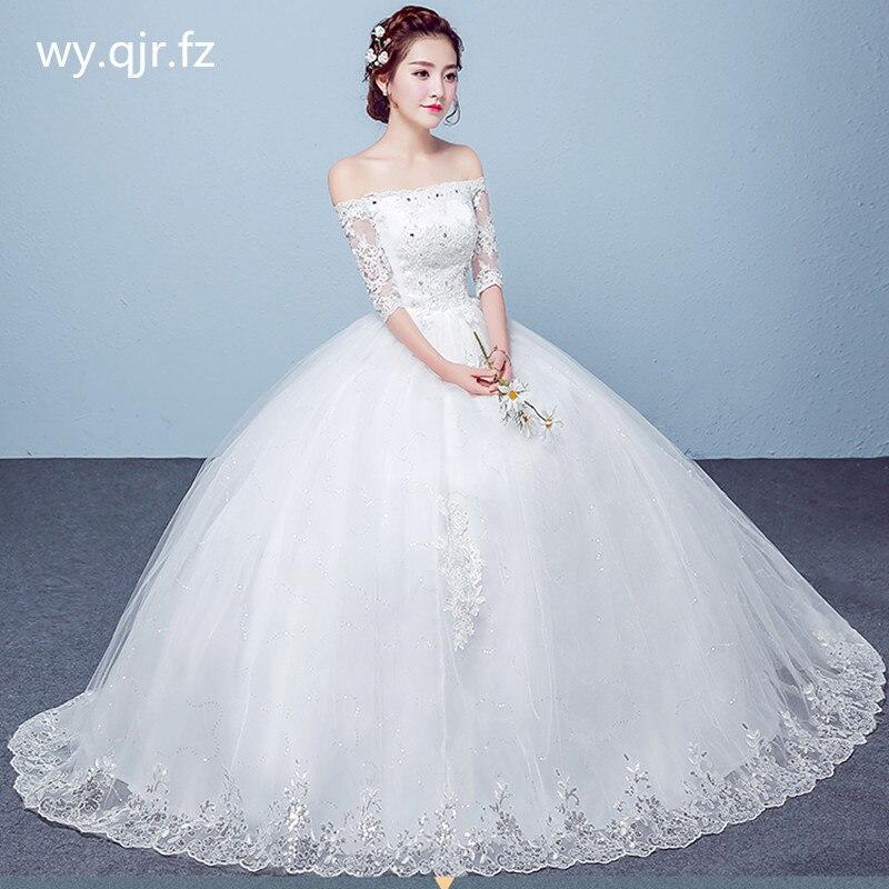 PRXD-7012 # الزفاف اللباس الجملة الدانتيل يصل التطريز العروس الزواج فساتين الأبيض الكرة ثوب عيد الميلاد كرنفال قارب الرقبة الفتيات
