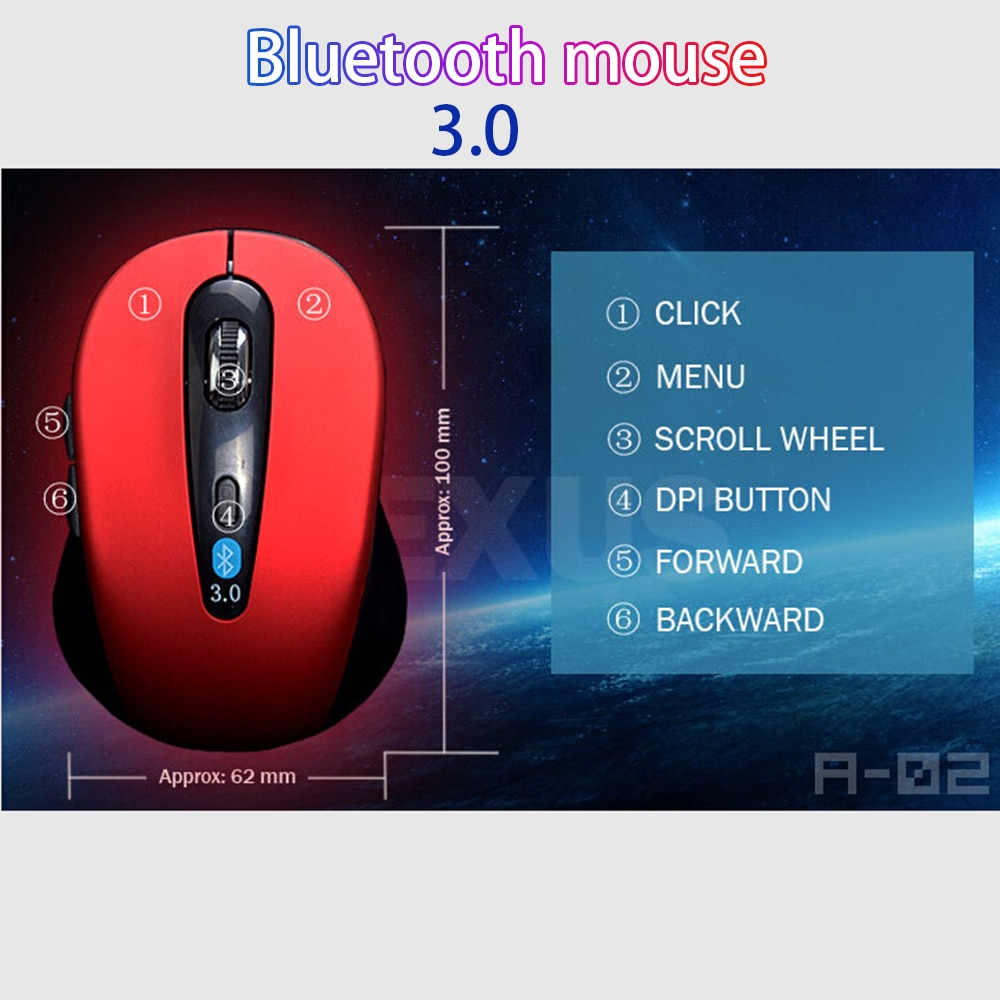 10M Wireless Bluetooth 3.0 Mouse for win7/win8 xp macbook iapd Android Tablets Computer notbook lapt