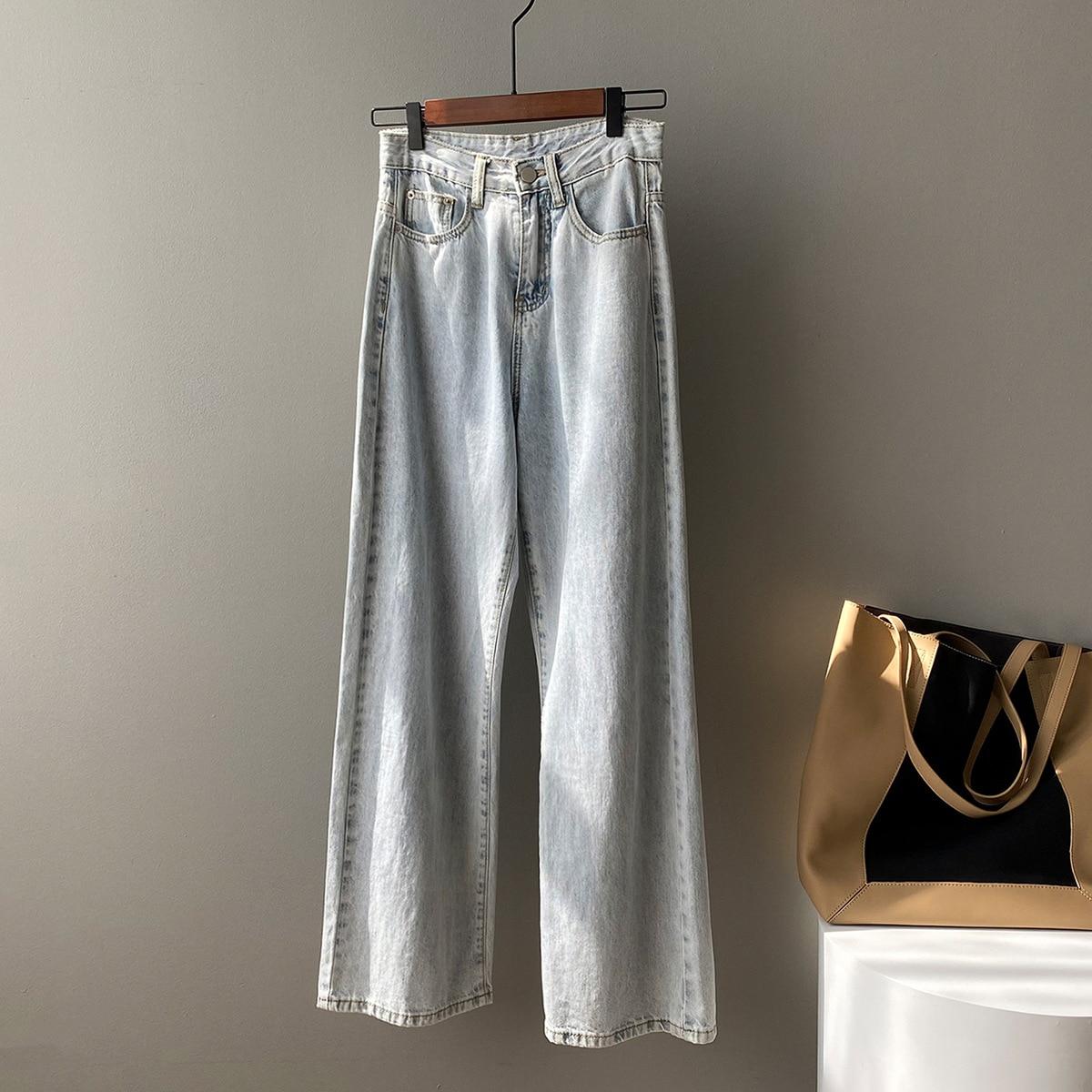 CMAZ Streetwear High Waist Women's Fashion Jeans Wide Leg Vintage Loose Pants Trousers Fashion Femal