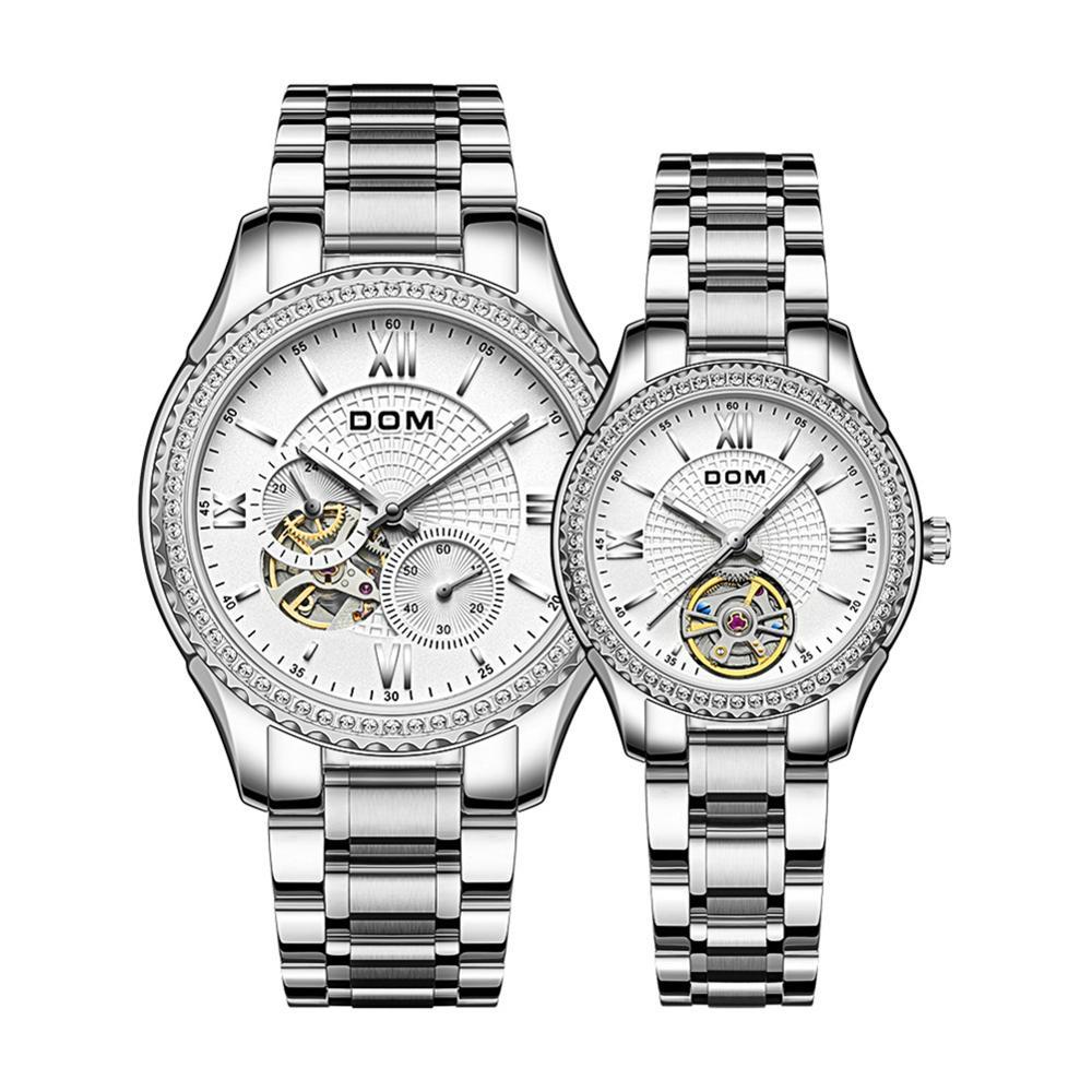 DOM Automatic mechanical watch business  sport stainless steel women's watch luminous waterproof couple watch men's watch