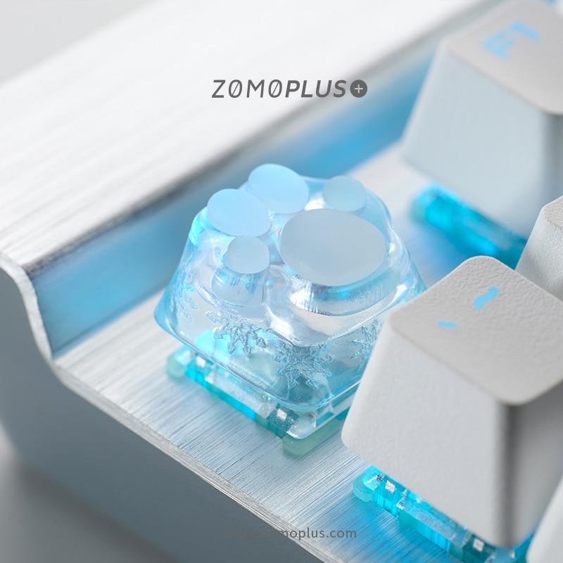 زومو بلس ثلاثية الأبعاد مطبوعة الراتنج سيليكون القط باو Keycap ABS والسيليكون الحرفي Keycap للوحة المفاتيح الميكانيكية سماوي الوردي ساكورا