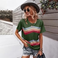 gxds striped tees loose t shirts soft o neck polyester shirts solid short sleeve 2021 new clothes fashion summer tops