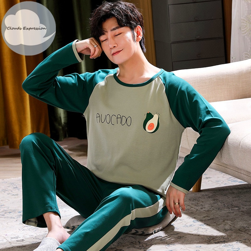 Autumn Winter Men's Cotton Pajamas Letter Striped Sleepwear Cartoon Pajama Sets Casual Sleep&Lounge Pyjamas Plus Size 4XL Pijama
