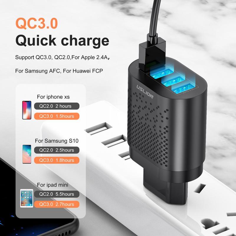 USLION ue/US wtyczka ładowarka USB 3A Quik ładowanie 3.0 ładowarka do telefonu komórkowego QC3.0 4 Port 48W szybka ściany ładowarki dla IOS Android