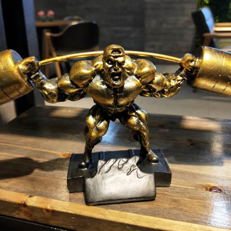 European Weightlifting Hercules Muscular Man Statue Abstract Figure Arts Sculpture Resin Art&Craft Home Decoration GYM R2872