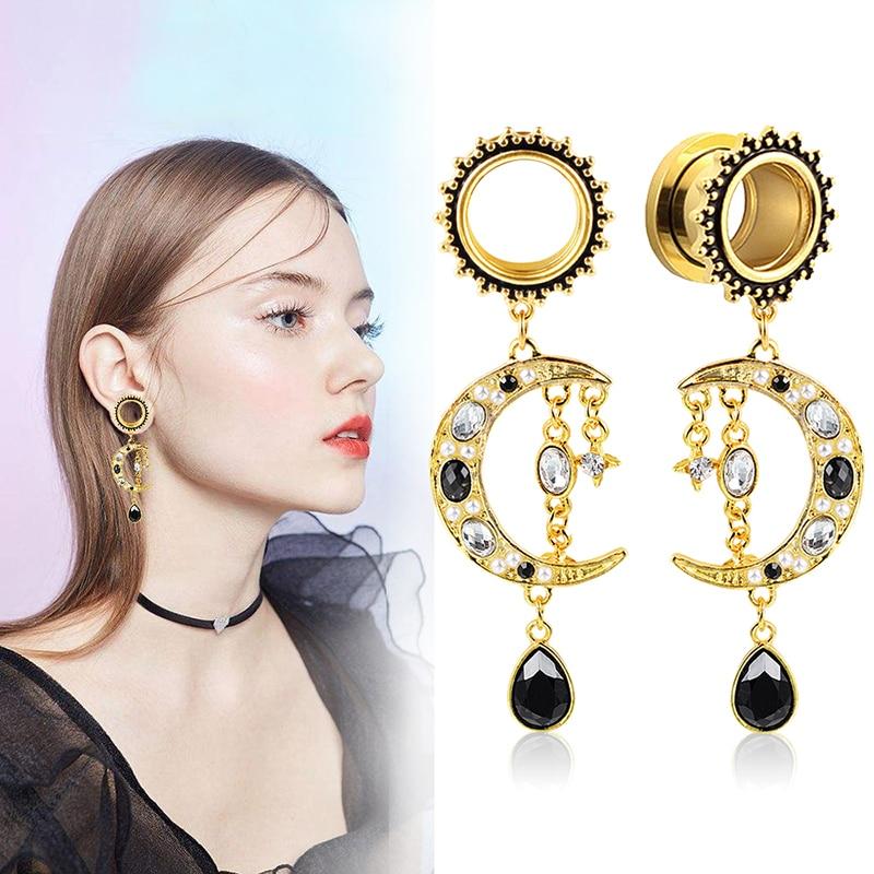 Vankula 2PCS Dangle Ear Plugs and Tunnels 316L Stainless Steel  Ear Gauges Expander Piercing Body Jewelry Moon Shape Earrings