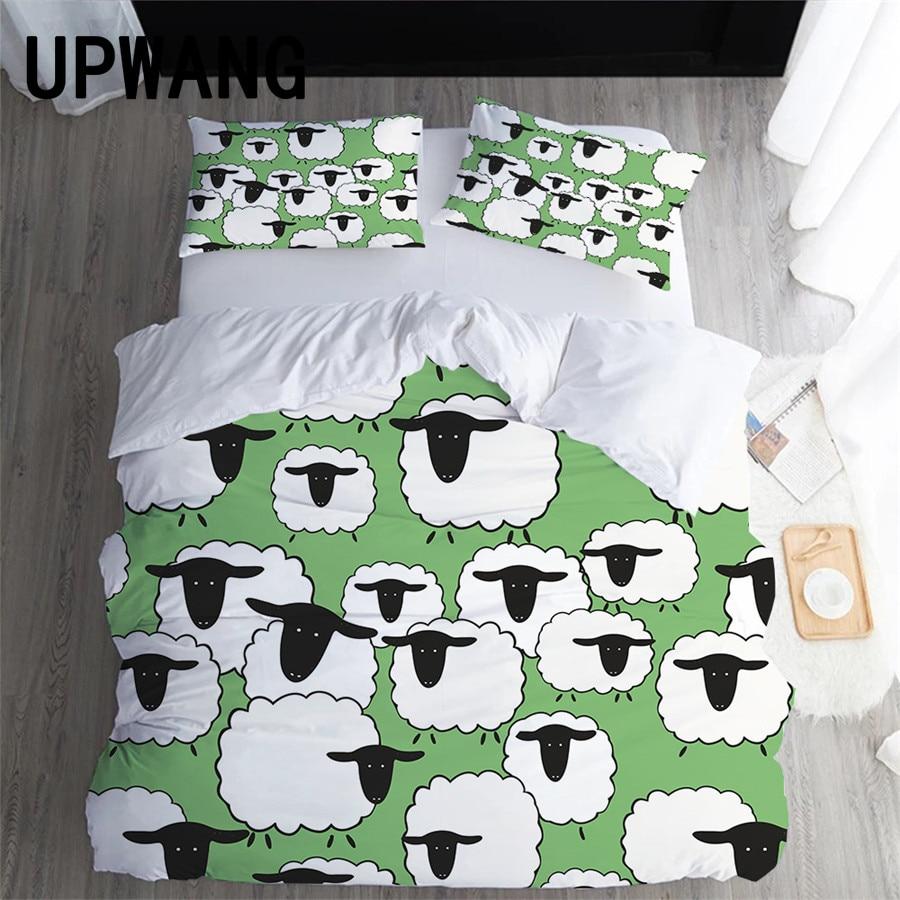 UPWANG 3D Bedding Set Sheep Printed Duvet/Quilt Cover Set Bedcloth with Pillowcase Bed Set Home Textiles #YMM01