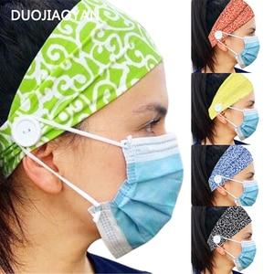 DUOJIAOYAN New Button Mask Headband Women Anti-tight Ears turban headwrap sports hair accessories Color Wide Elastic Hairband